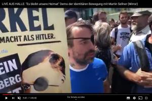 Sven Liebich und Eike Voigtsberger bei einer Demonstration der identitären Bewegung am 20.07.19 in Halle