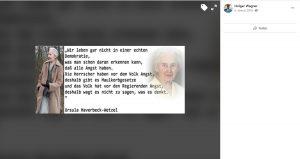 Holger Wagner teilt Inhalte der Holocaustleugnerin Ursula Haverbeck